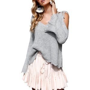 Chic Long Sleeve Cold Shoulder Sweater Top Grey