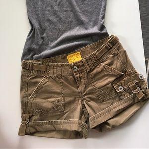 Z. Cavaricci army green cargo style shorts