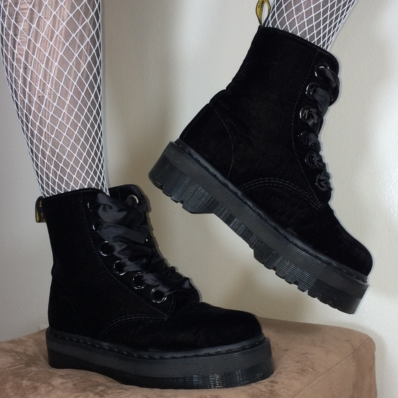 buying new discount sale pretty cheap Dr. Martens Molly Black Velvet Platform Boots