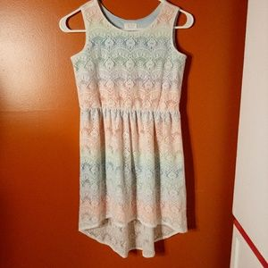 Beautiful Dressy Lace Over Rainbow Colors Dress