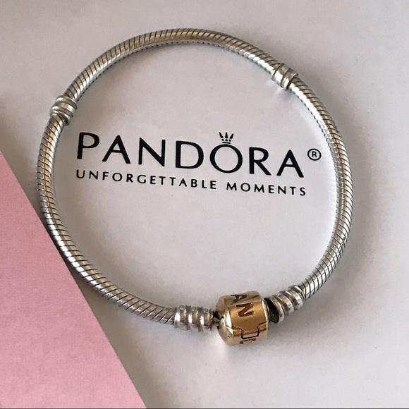 b850e5ebd Pandora Jewelry | Silver Charm Bracelet With 14 K Gold Claps | Poshmark