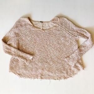 Free People Sweater Frayed Edges Crop Top
