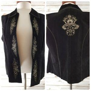 Coldwater Creek women's black suede vest size S