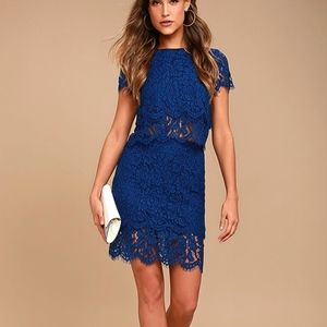 LIVE FOR THE NIGHT NAVY BLUE LACE SKIRT AND TOP