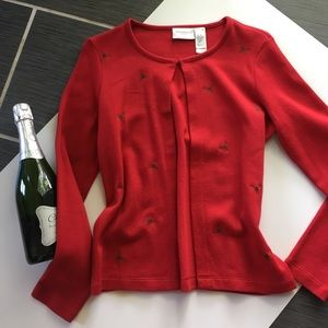 Ugly Christmas sweater, red festive mistletoe