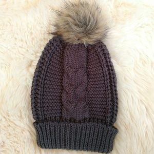 Cute and cozy grey winter beanie hat