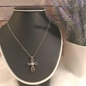 Jewelry - Sterling silver KBH heart cross necklace