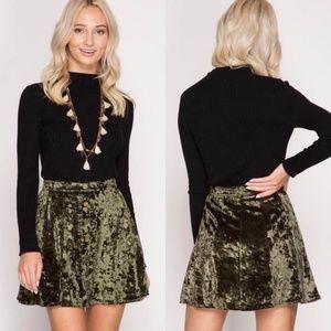 Crushed Velvet Mini Snap Button Skirt