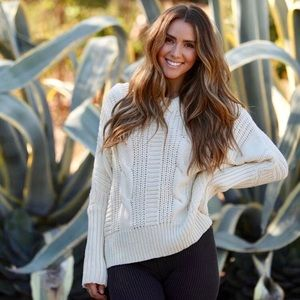 Ivory Reversable Knit Lace Up Sweater