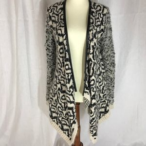 RD Style women's wrap mohair w/faux leather trim S