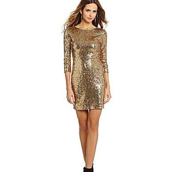 7add065b9d Gianni Bini Fan Fav Gold Sequin Dress