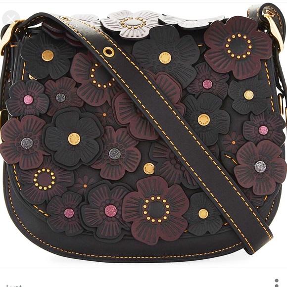 0143f72cfb4f Coach Tea Rose appliqué saddle bag