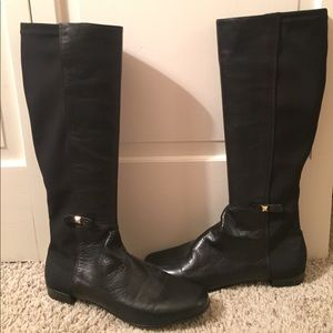 Kate Spade black leather and elastic boots