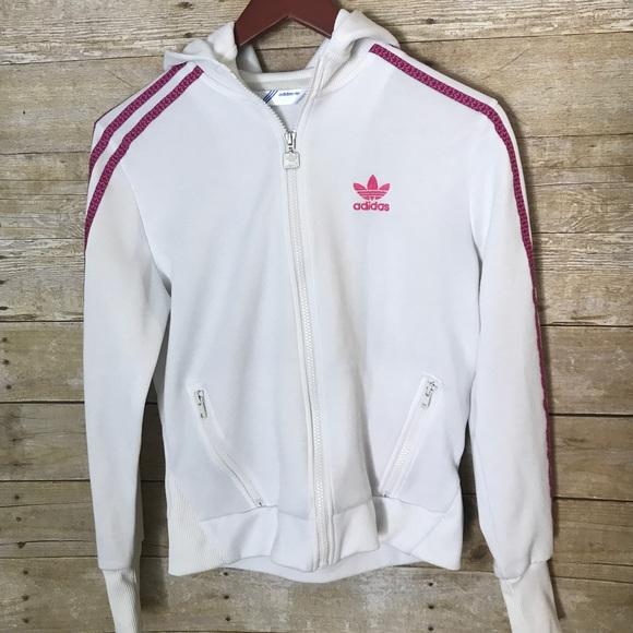 frutas archivo productos quimicos  adidas Jackets & Coats | Trefoil White Pink Zip Hoodie Sz M | Poshmark