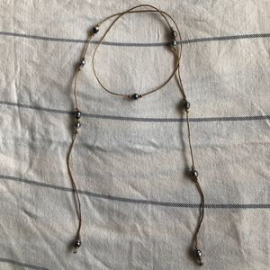 Jewelry - Pearl and leather wrap necklace