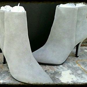 Grey Suede High Heel Booties by Steve Madden