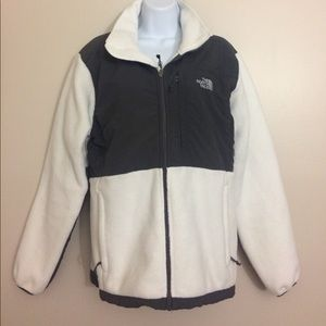 North Face White & Gray Denali Jacket