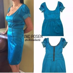 ZAC POSEN TEAL SHEATH VISCOSE SIZE 6