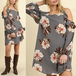 AMANDA Open Shoulder Floral Dress - GREY
