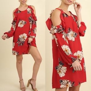 AMANDA Open Shoulder Floral Dress