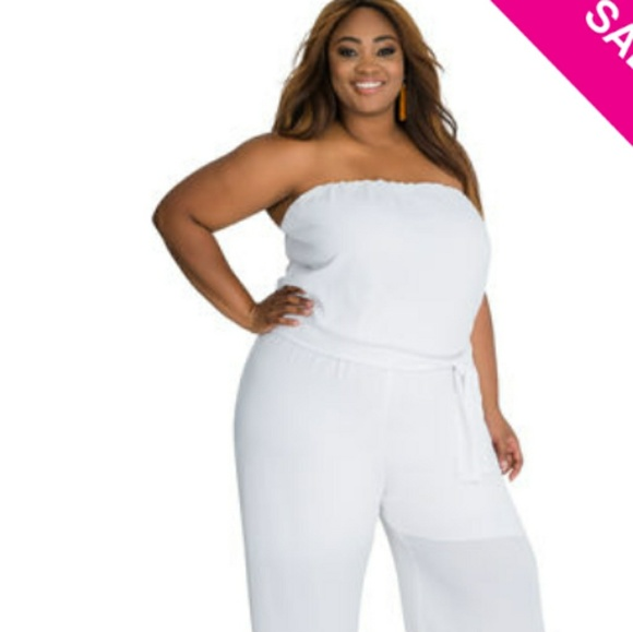 0927fa75aa45c Ashley Stewart Other - White Plus Size Jumpsuit