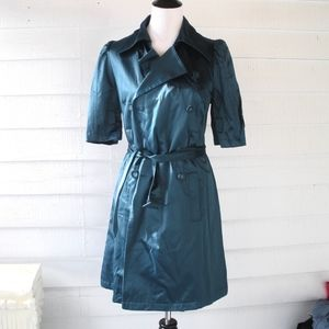 Elle Retro Teal Pleated Trench Jacket Coat XS S