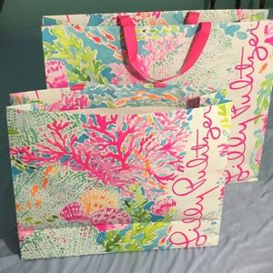 Lilly Pulitzer shopping bags 2 12X16 -16X20 Used