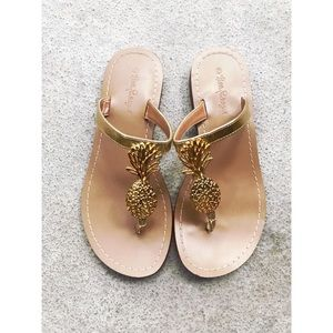 (Lilly Pulitzer} For Target Gold Pineapple Sandals