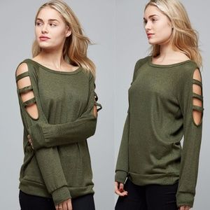 Olive Cut-Out Arm Detail Scoop Neck Top