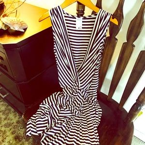 ALI RO black and white strip dress