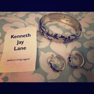 Kenneth Jay Lane Blue & Silver Bracelet & Earrings