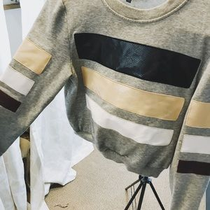Grey and Striped Sweater