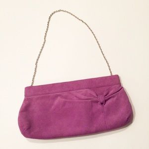 LOFT NWOT lavender suede clutch with chain strap
