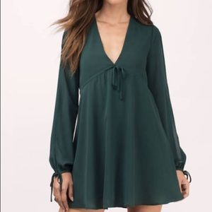 DISCOUNT SHIPPING‼️Green skater dress, tie sleeve