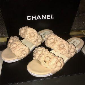 Chanel beige Camilla flower mules