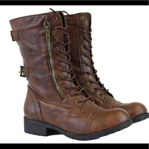 df21a4b046cf Women s Brown Military Combat Boots Zip Lace Up