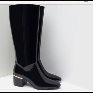 Zara Black Patent Faux Leather Boots Size 37