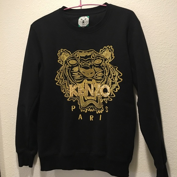 fce9a4a4 Kenzo Sweaters | Gold Tiger Embroidered Sweatshirt | Poshmark