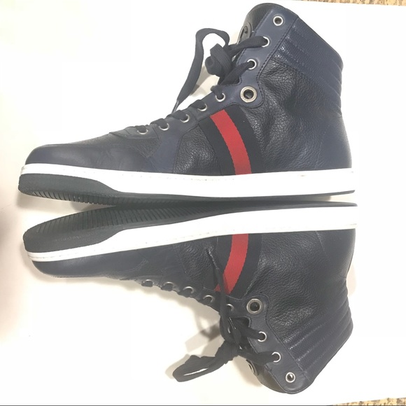 36521403f9e Gucci Other - Men Gucci Sneaker Hightop Navy Blue Leather Shoes