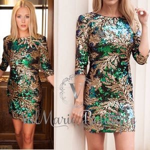 Gold Leaf Sequin Bodycon Dress