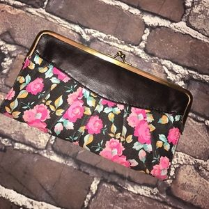 LULU Floral Fabric and Faux Leather wallet Clutch