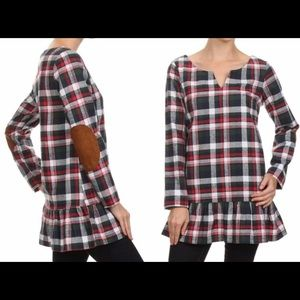 Plaid Tunic with Suede elbow patches