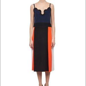 Victoria Beckham Silk Crepe Colorblock Dress