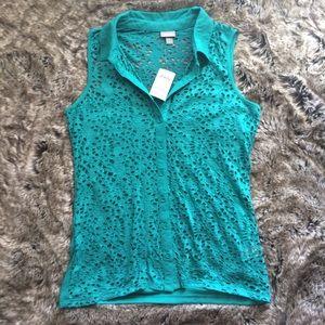 Vanity Jade Green Sleeveless Shirt