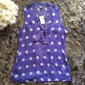 Vanity Tops - Vanity purple polka dot top