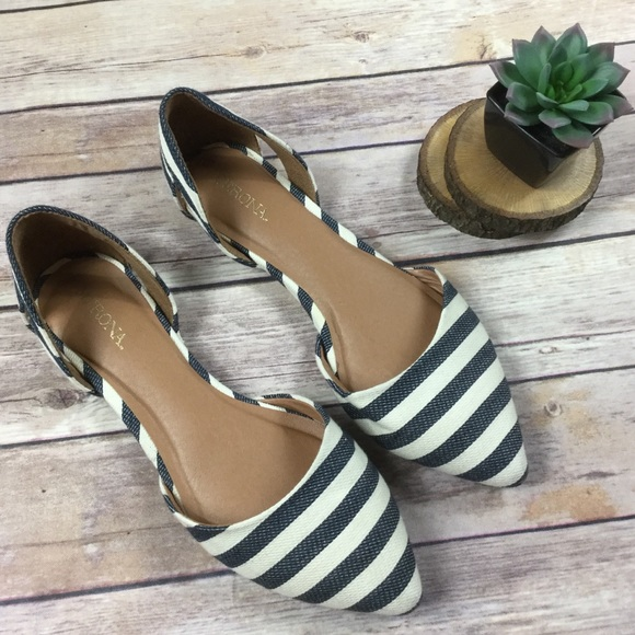 Point Toe Blue And White Stripe Flats