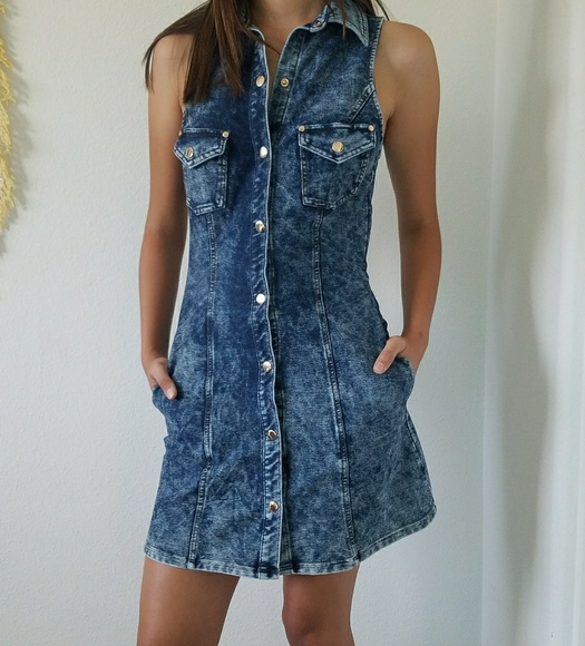 7d089304a2ebf Denim fit and flare dress