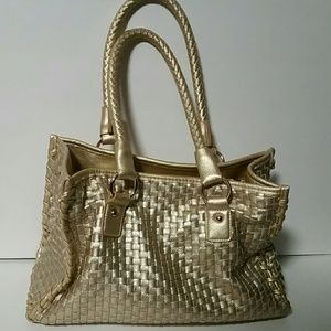 Basket weave leather tote