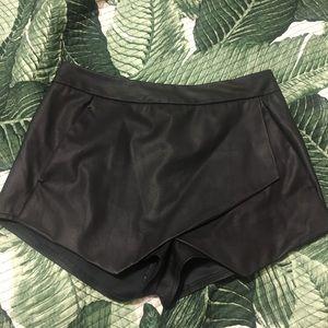 Faux Leather Asymmetrical Mini Skort