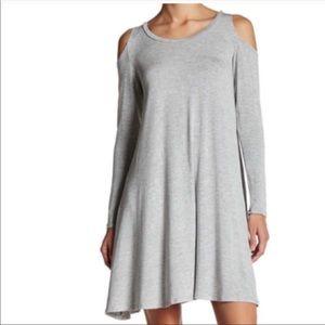Dresses & Skirts - Cold shoulder swing dress in grey size Med NWT